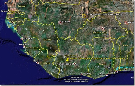 Carte de l'Afrique occidentale générée par Google